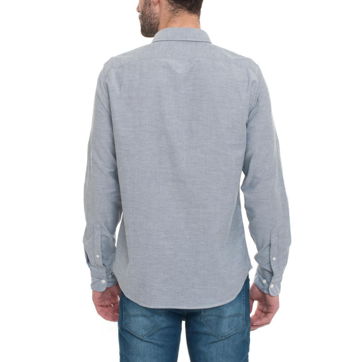 6f893d86 Camisa Timberland Manga Longa Rattle River Oxford Masculina - Cinza ...