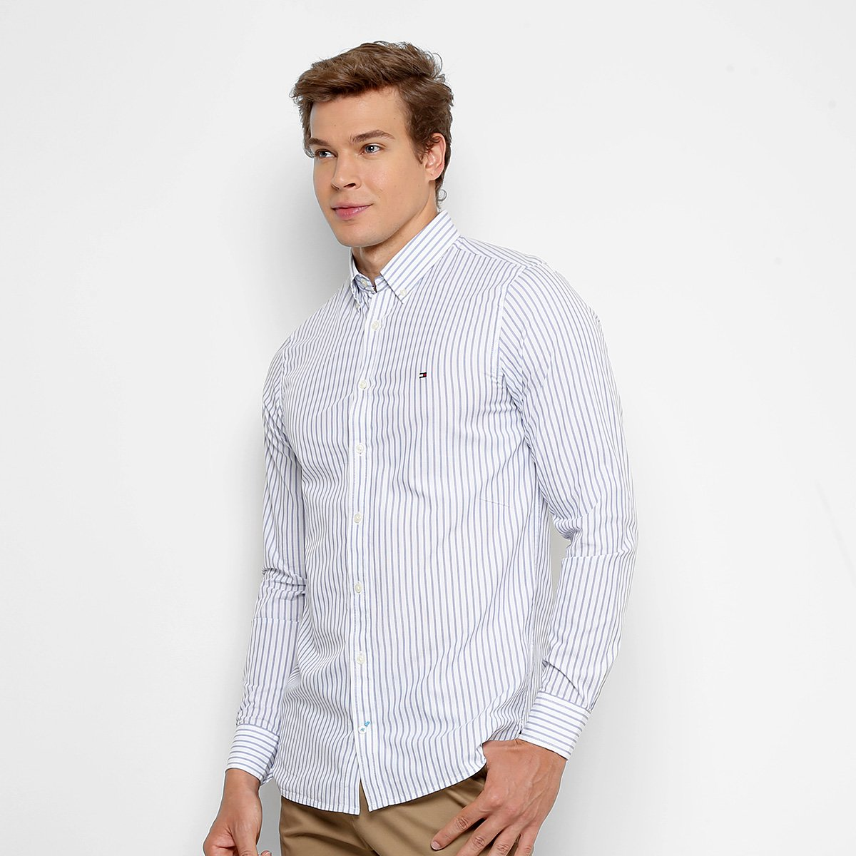 f5b0283407 Camisa Tommy Hilfiger Listras Slim Fit Masculina - Compre Agora ...