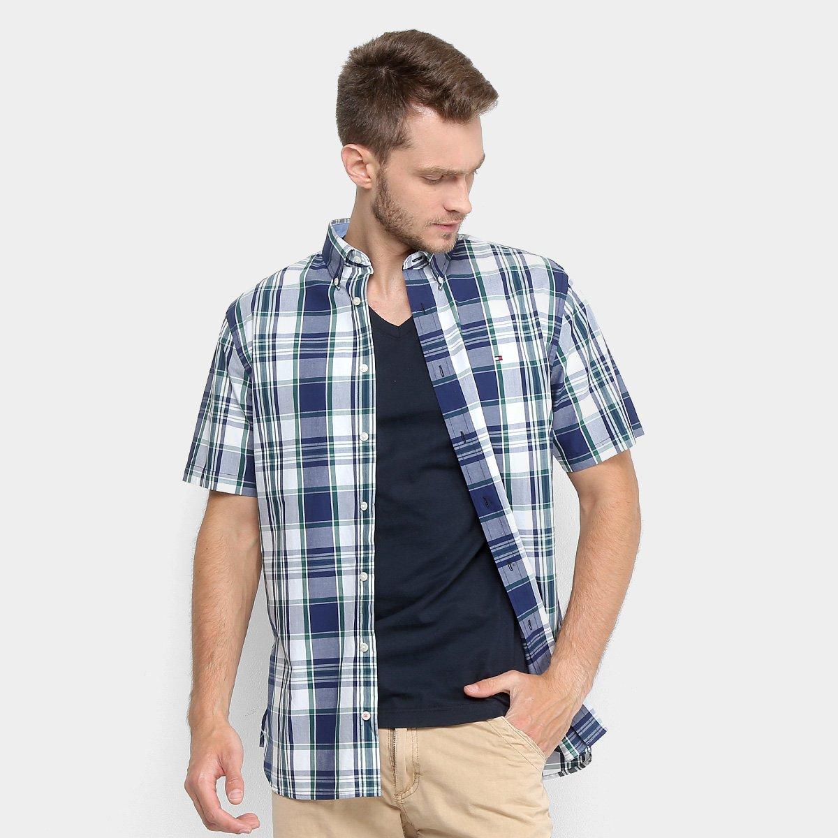 09d70324e4 Camisa Tommy Hilfiger Xadrez Custom Fit Masculina - Compre Agora ...