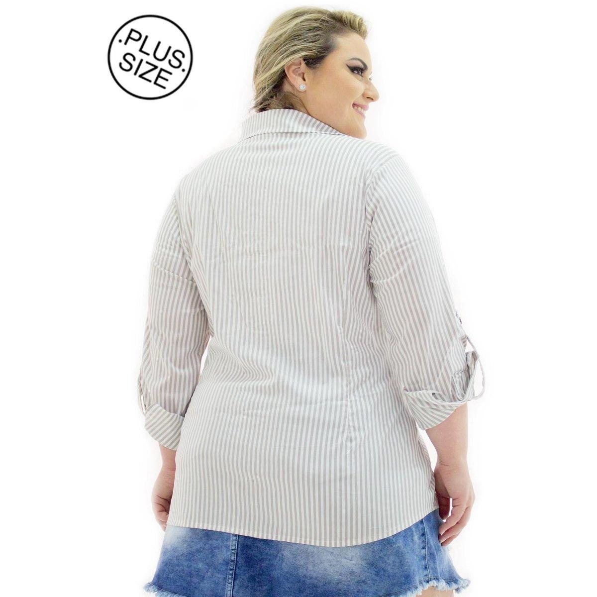 Camisa Tricoline Confidencial Extra Plus Size Listrada Feminina ... 55e33052e85
