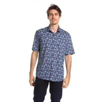 Camisa True You Brasil Manga Curta Summer Leaves Gulf Blue Masculina - Zattini BR
