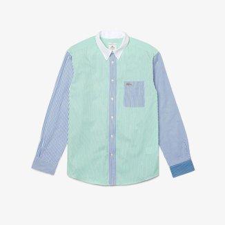 Camisa unissex Lacoste LIVE em algodão listrado com modelagem solta