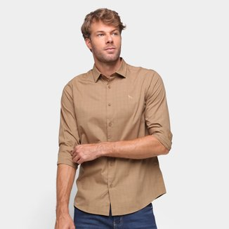 Camisa Xadrez Acostamento Manga Longa Masculina