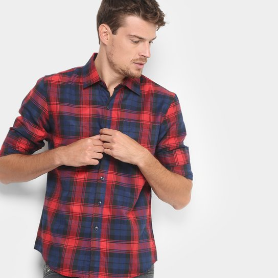 Camisa Xadrez Broken Rules Flanelada Masculina - Vermelho