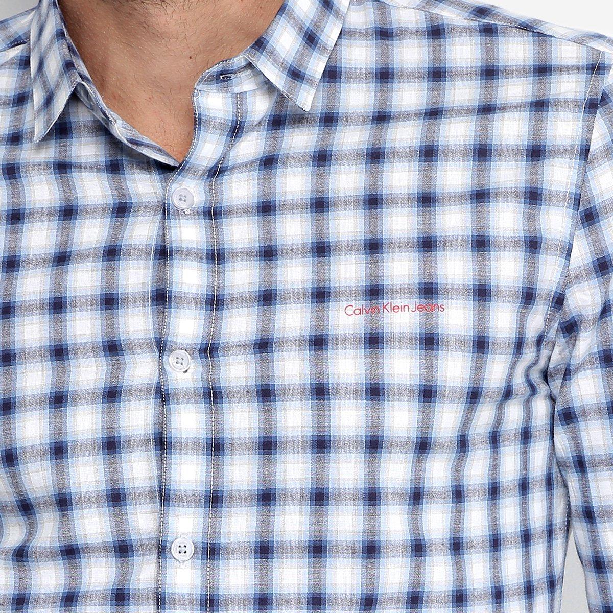 Camisa Xadrez Calvin Klein Slim Fit Masculina - Compre Agora   Zattini 040faf20c1