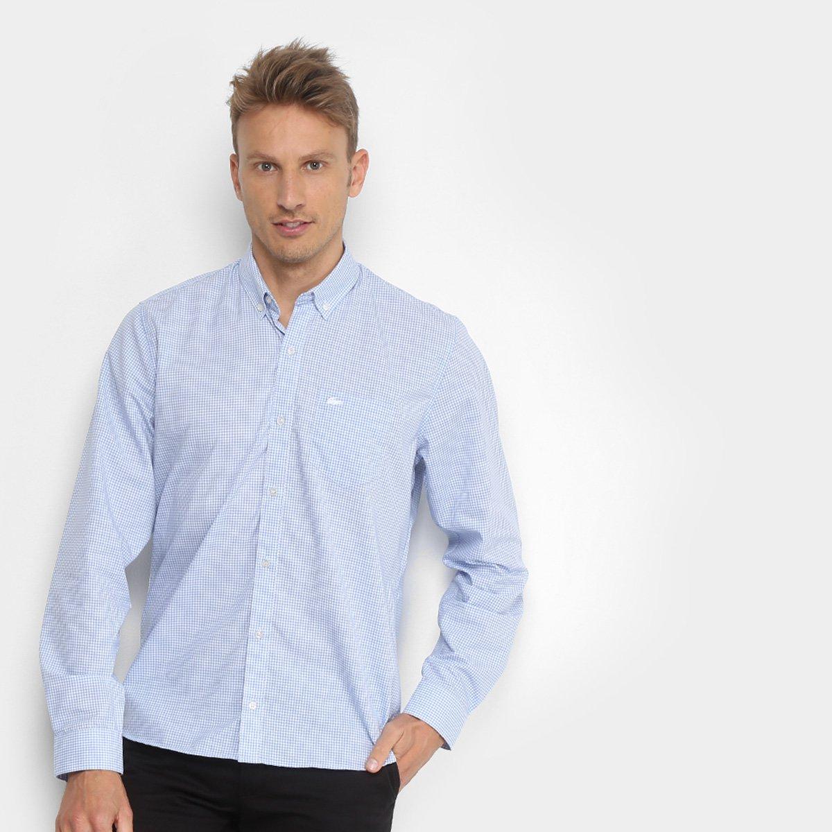 33ba6163f3 Camisa Xadrez Lacoste Manga Longa Masculina - Azul Claro - Compre ...