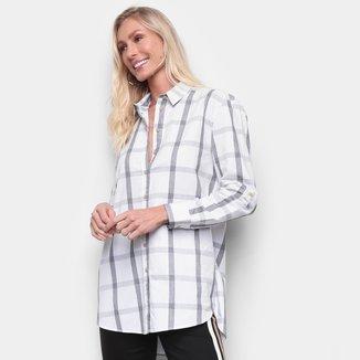 Camisa Xadrez Manga Longa Calvin Klein Reg Full Ampla Feminina