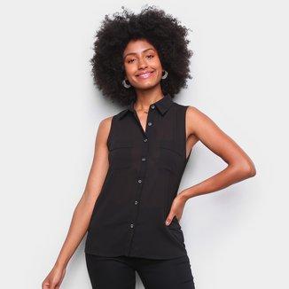 Camisa Yutz Sem Manga Bolsos Feminina