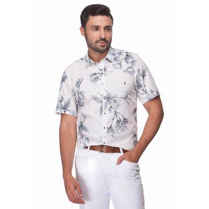 Camisa Zaiko Slim Slub Estampada Manga Curta Masculina