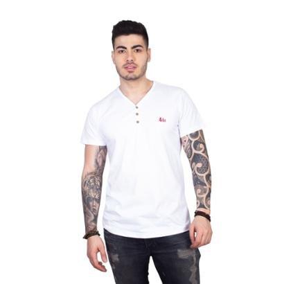Camiseta 4 Ás Gola V com Botões Masculina