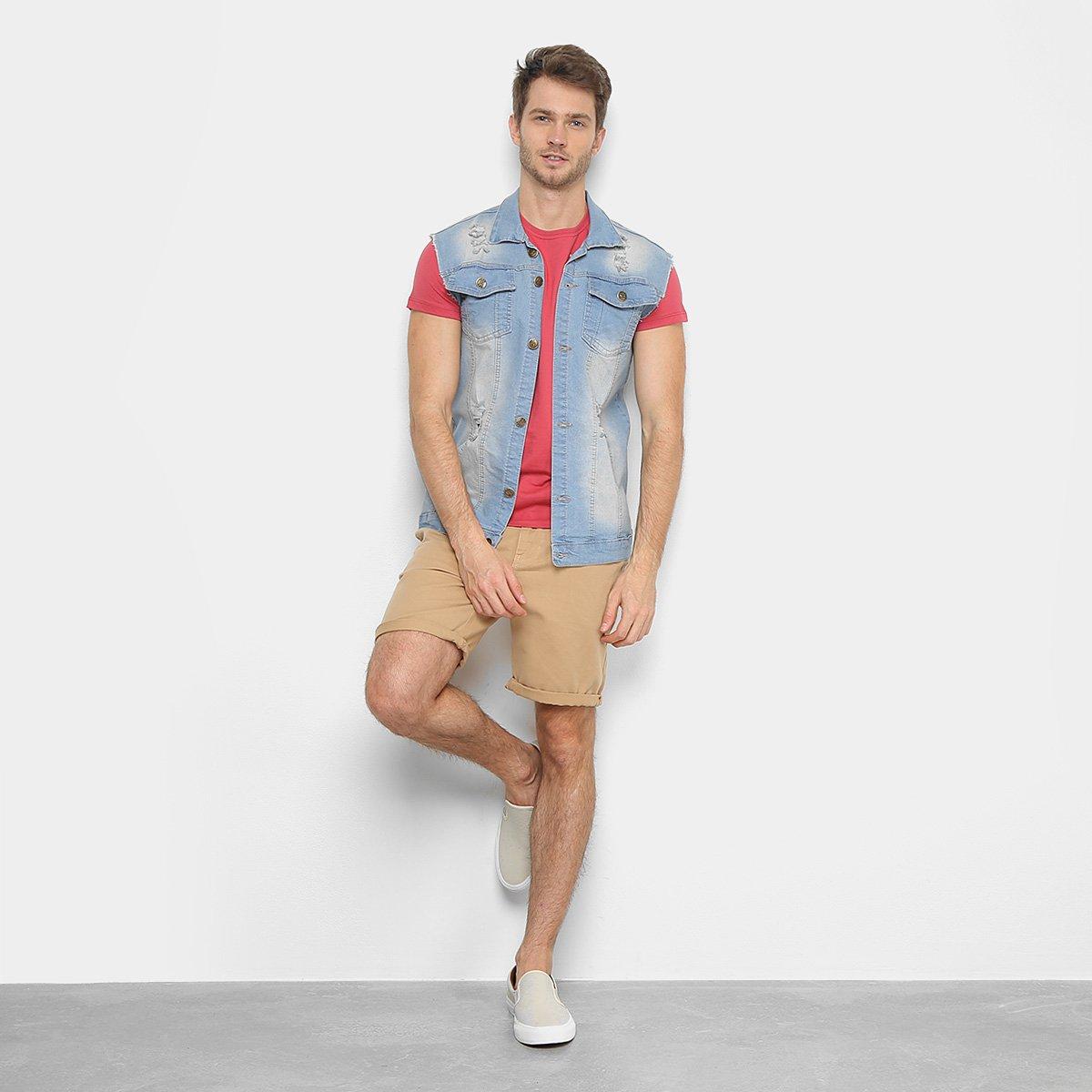 Camiseta Acostamento Básica Masculina - Vermelho