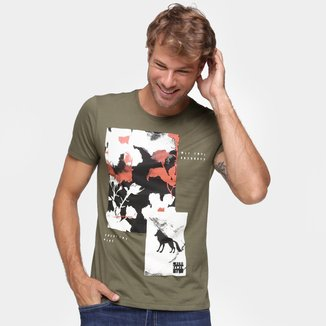 Camiseta Acostamento Casual Folhagem Masculina