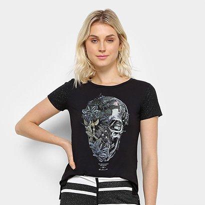 Camiseta Acostamento Caveira Floral Feminina