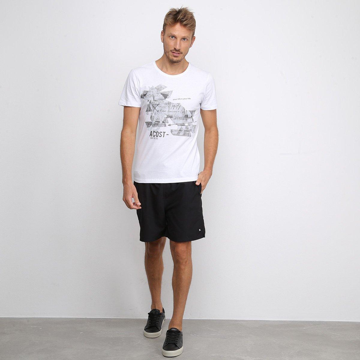Camiseta Acostamento Estampada Manga Curta Masculina - Branco