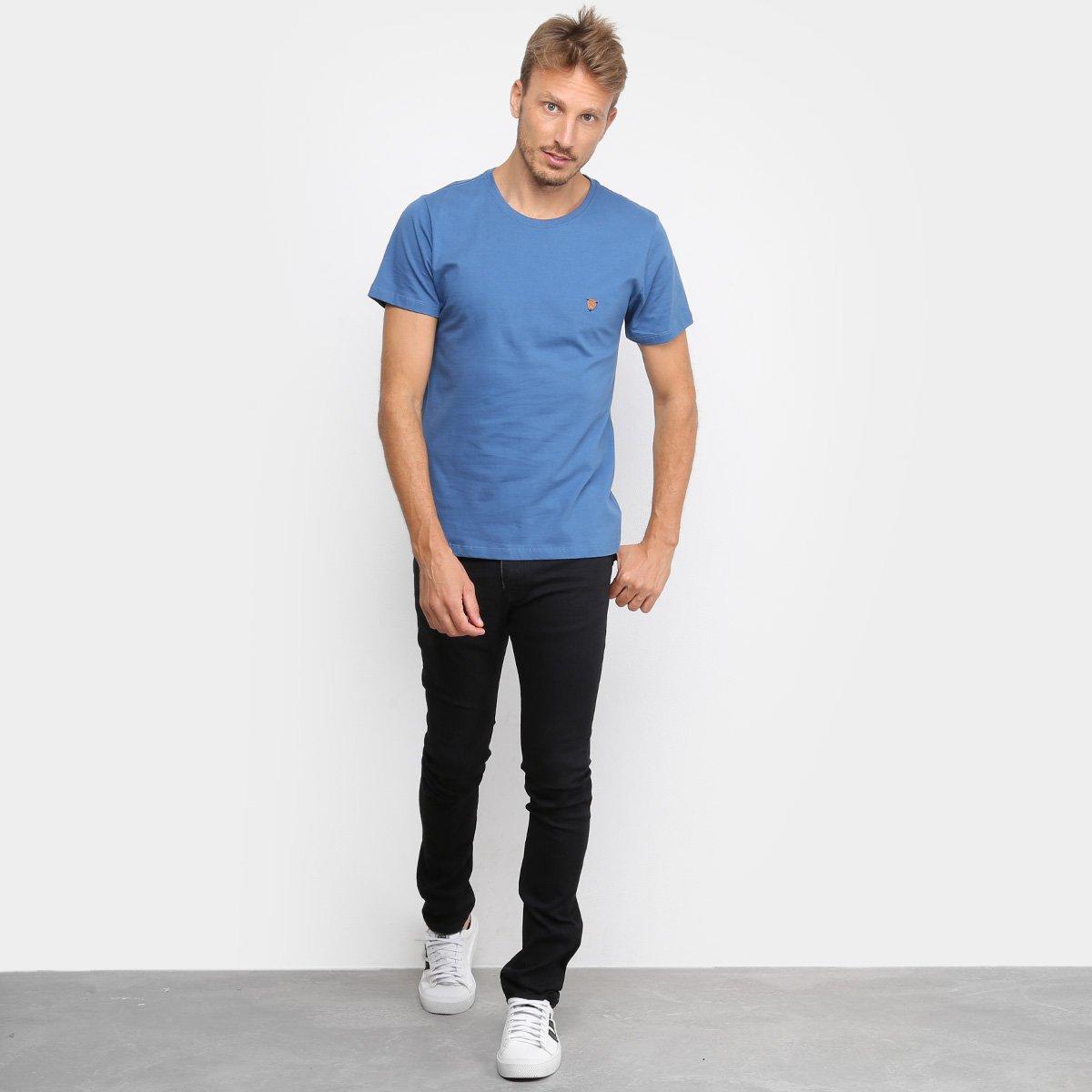 Camiseta Acostamento Lisa Masculina - Azul Escuro