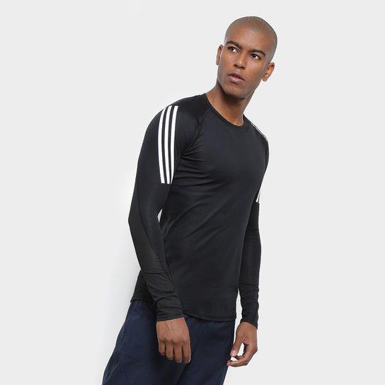 Violar exposición superstición  Camiseta Adidas Alphaskin Sport 3 Stripes Manga Longa Masculina - Preto |  Zattini