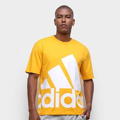 Camiseta Adidas Big Logo Bold Masculina Masculino-Amarelo+Branco