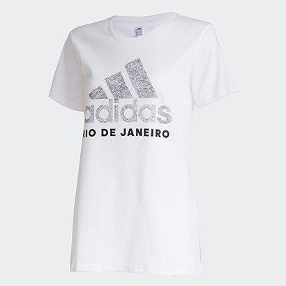 Camiseta Adidas Cidade Rio de Janeiro Feminina Feminino-Branco