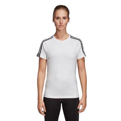 Camiseta Adidas D2M 3 Stripes Feminina Feminino-Branco+Preto