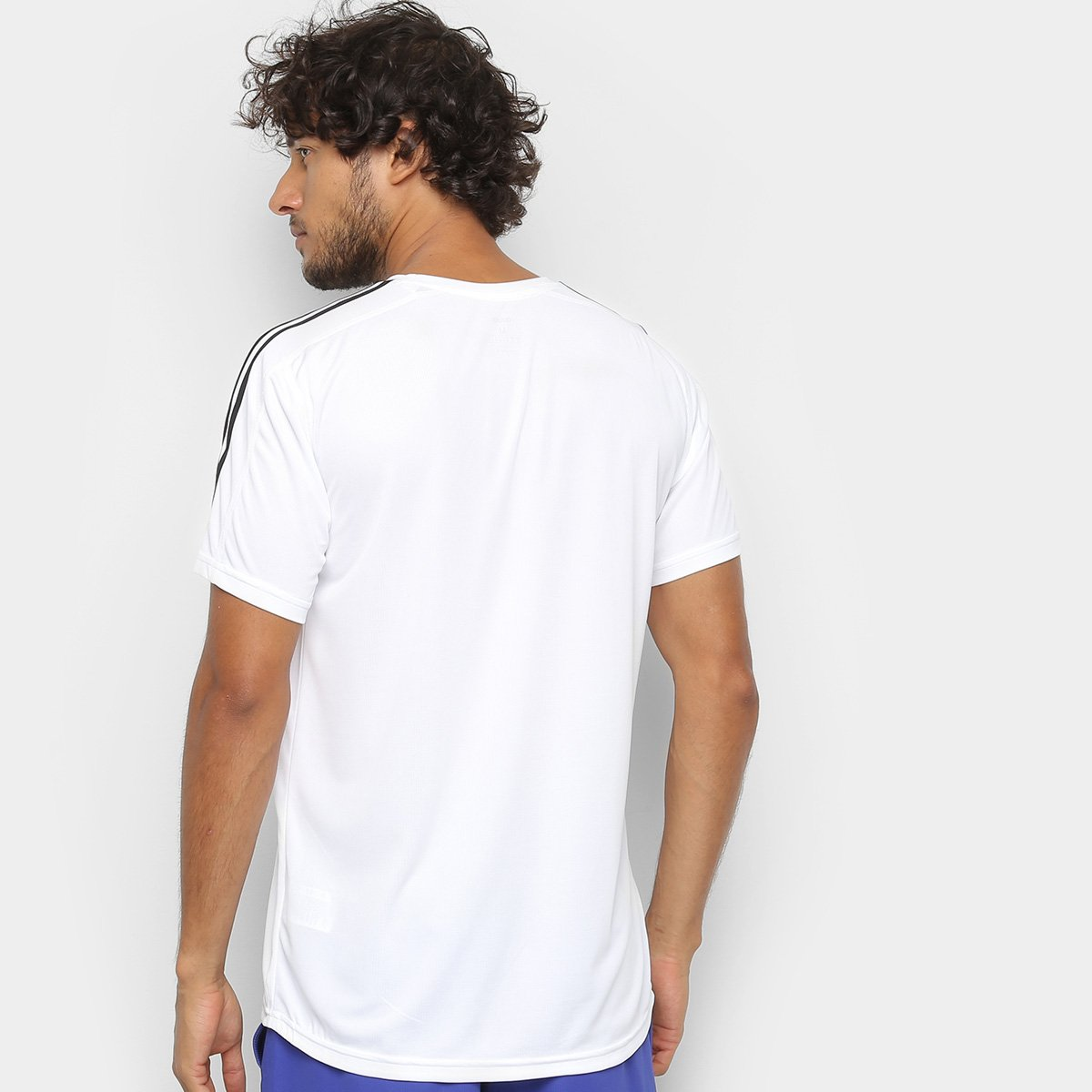Camiseta Adidas Design 2 Move 3 Stripes Masculina - Branco - Compre ... 9406c3e25df