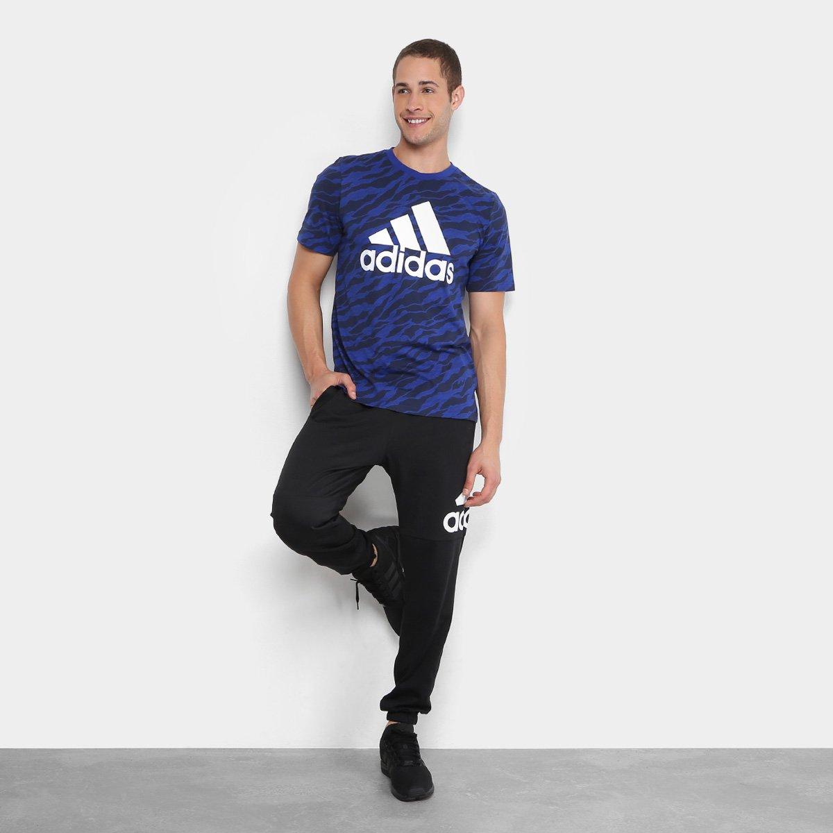 f9586dfb10 Camiseta Adidas Ess Aop Masculina - Azul - Compre Agora