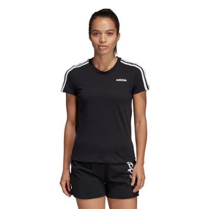 Camiseta Adidas Essentials 3 Stripes Feminina Feminino-Preto+Branco