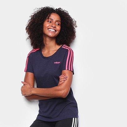 Camiseta Adidas Essentials 3S Slim Feminina Feminino-Marinho+Rosa