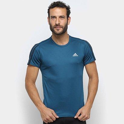 Camiseta Adidas Run 3 Stripe Masculina Masculino-Azul Petroleo