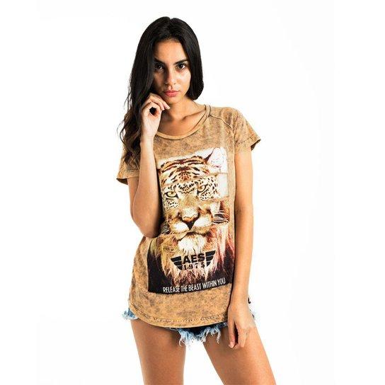 Camiseta AES 1975 Animals Feminina - Bege