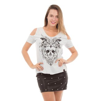 Camiseta AES 1975 Owl and Skull Feminina