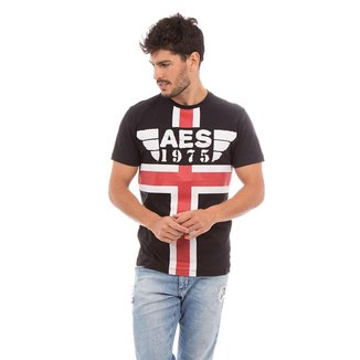 Camiseta AES 1975 Red and White Stripes Masculina