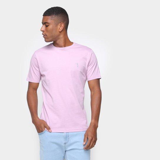 Camiseta Aleatory Básica Lisa Masculina - Rosa Claro