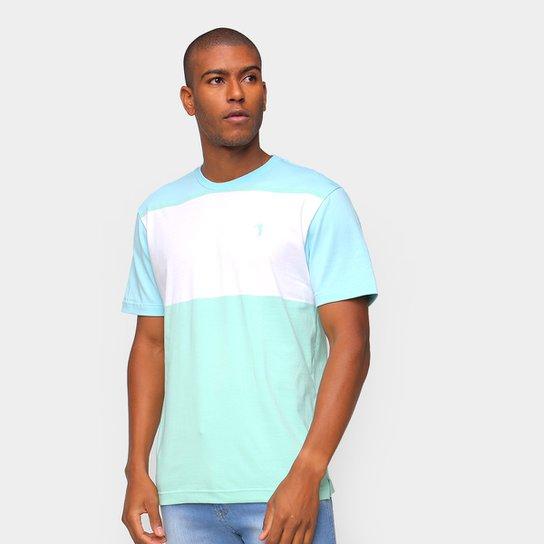 Camiseta Aleatory Listrada Masculina - Azul+Branco