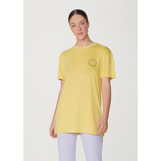 Camiseta Alongada Manga Curta Oversized Smiley® Feminina