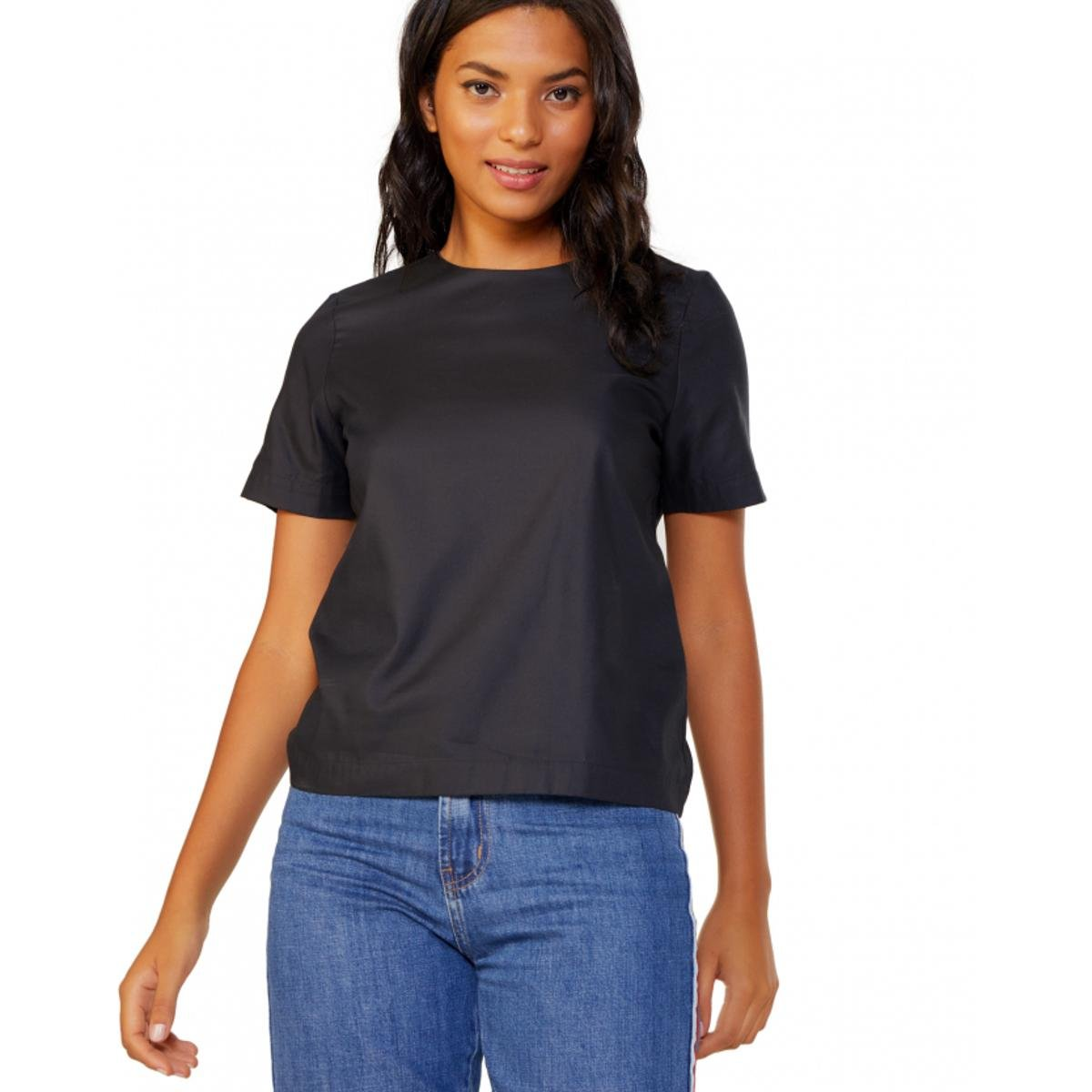 Camiseta Amaro Tricoline Essential - Preto - Compre Agora   Zattini 49af685172