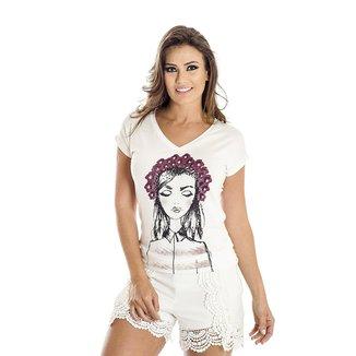 Camiseta Ana Hickmann Menina Flores Feminina