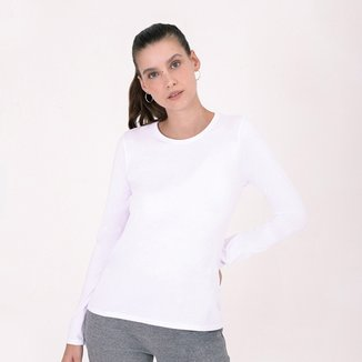 Camiseta Basicamente Manga Longa Gola Careca Feminina