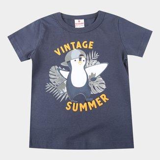 Camiseta Bebê Brandili Pinguim Surfista Masculina