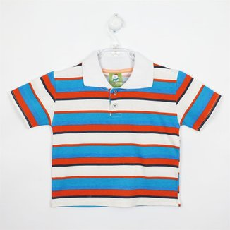 Camiseta Bebê Masculina Manga Curta Branca, Laranja e Azul Turquesa