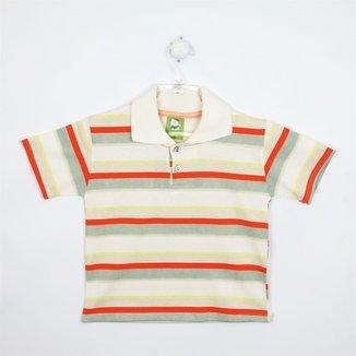 Camiseta Bebê Masculina Manga Curta Creme, Cinza e Laranja