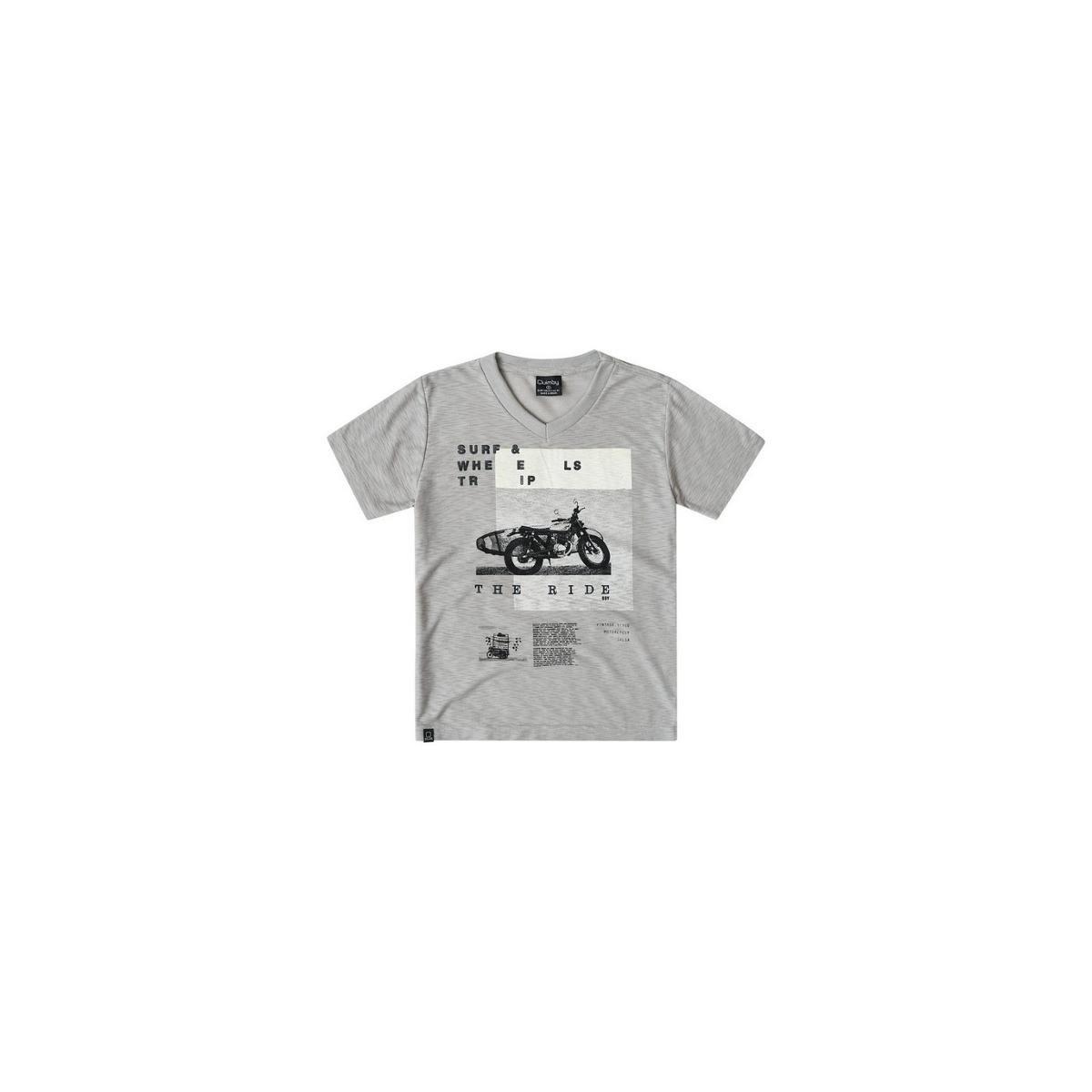 ad8171654c Camiseta Bebê Quimby com Decote em V Masculina - Cinza - Compre ...