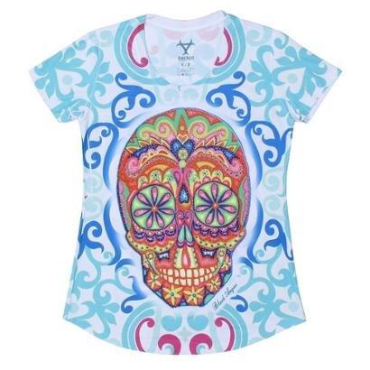 Camiseta Black Angus Manga Curta Sugar Skull Feminina-Feminino