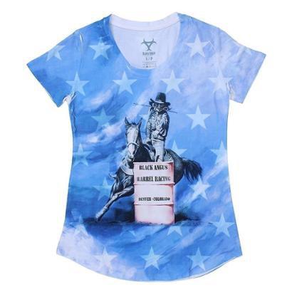 Camiseta Black Angus Manga Curta Tambores Feminina-Feminino