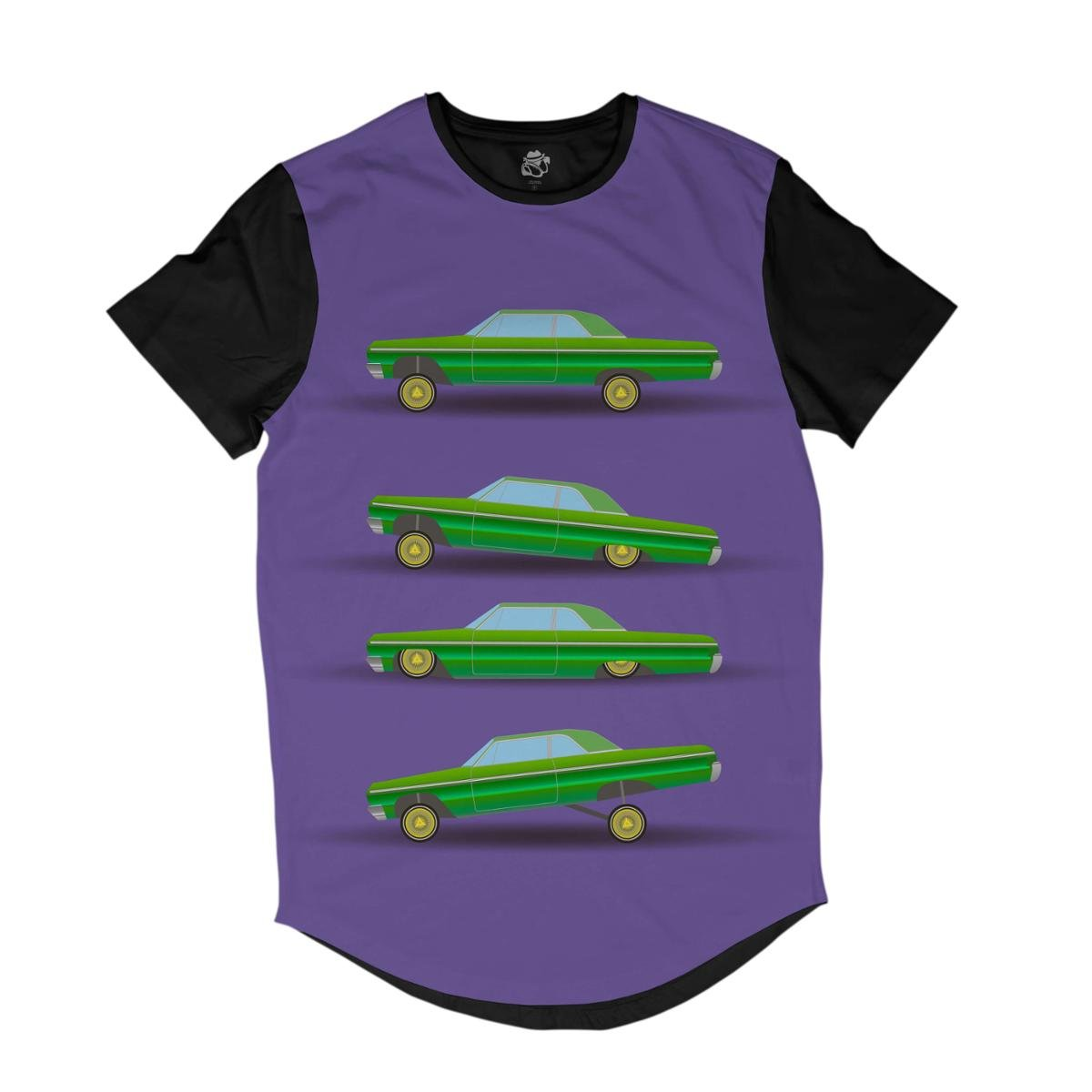 Camiseta Bsc Longline Desenho 4 Carros Lowriders Sublimada