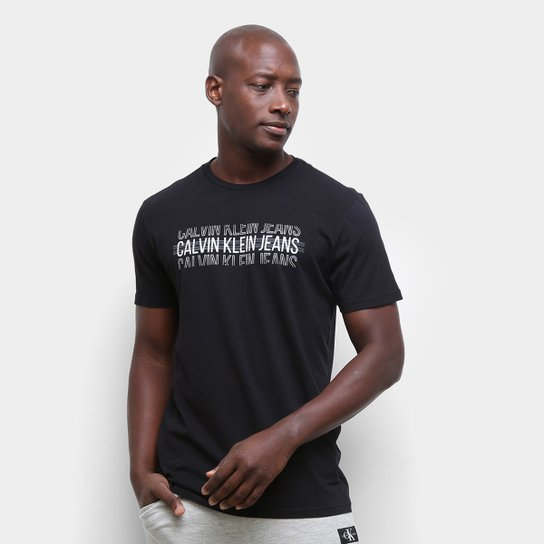 Camiseta Calvin Klein Logo Listras Masculina - Preto