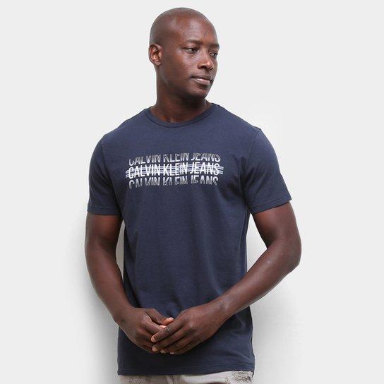 Camiseta Calvin Klein Logo Listras Masculina - Marinho