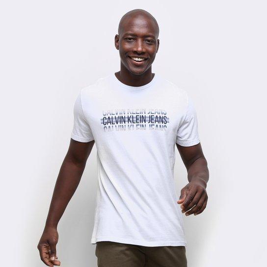 Camiseta Calvin Klein Logo Listras Masculina - Branco