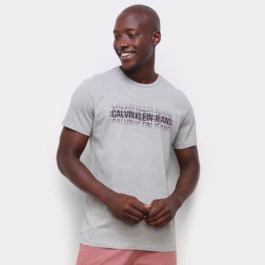 Camiseta Calvin Klein Logo Listras Masculina - Mescla
