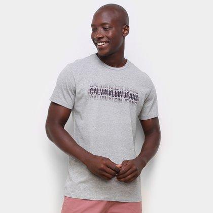 Camiseta Calvin Klein Logo Listras Masculina