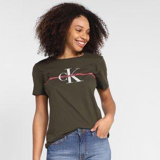 Camiseta Calvin Klein Logo Relevo Faixa Feminina
